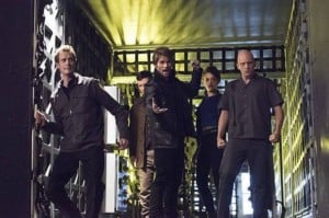 "The Flash -- ""Rogue Air"" -- Image FLA122A_0351b -- Pictured (L-R): Doug Jones as Jake Simmons, Paul Anthony as Roy G. Bivolo, Liam McIntyre as Mark Mardon, Britne Oldford as Shawna Baez and Anthony Carrigan as Kyle Nimbus -- Photo: Dean Buscher/The CW -- © 2015 The CW Network, LLC. All rights reserved."