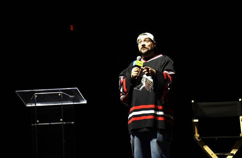 NEW YORK, NY - OCTOBER 10: Kevin Smith speaks onstage at the STARZ' Ash vs Evil Dead Panel At Hammerstein Ballroom During New York Comic Con at Hammerstein Ballroom on October 10, 2015 in New York City. (Photo by Nicholas Hunt/Getty Images for STARZ)