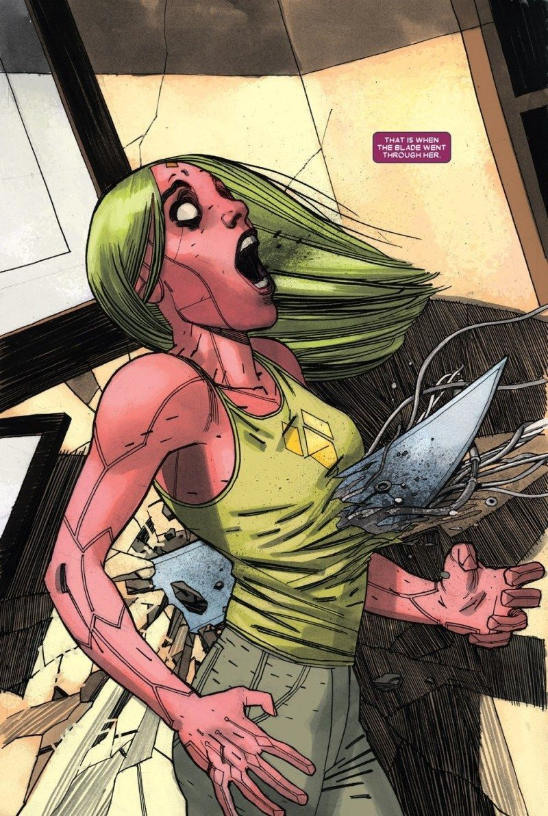 The stabbing of Viv from an attacking Grim Reaper in Vision issue 1
