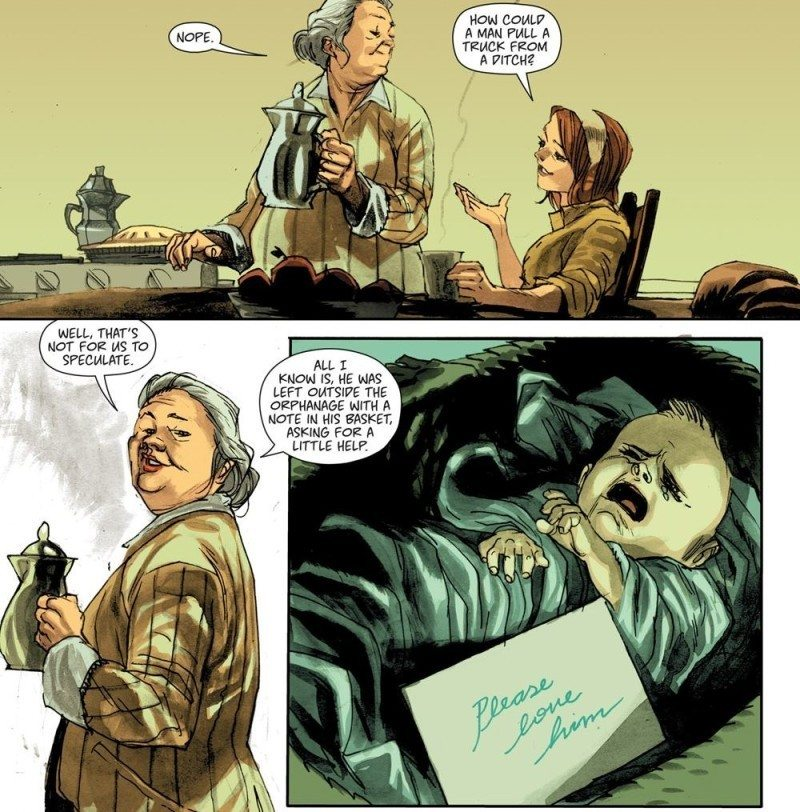 "In Huck issue one, his parents leave him at a doorstep with a note that says ""please love him""."