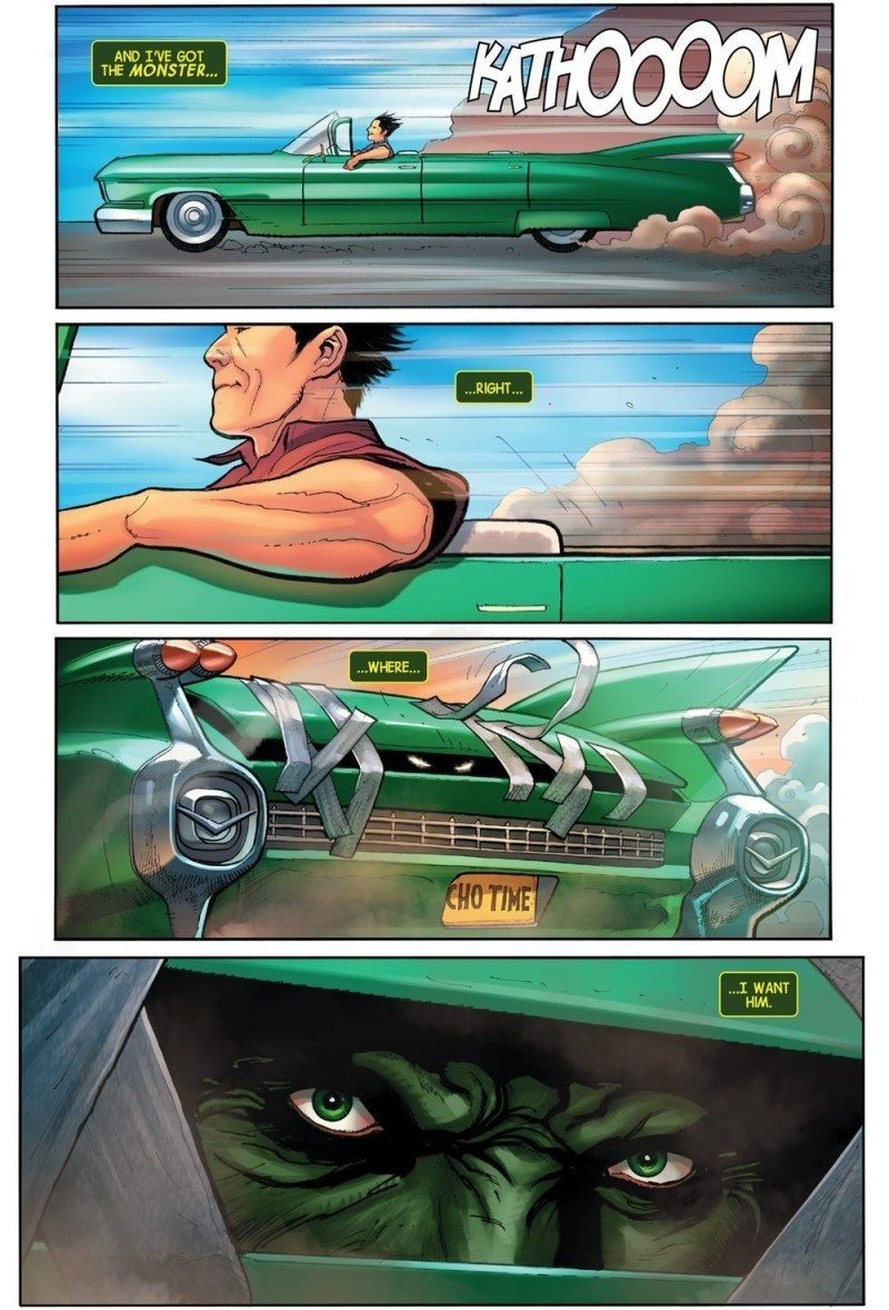 Amadeus Cho locks up Hulk in his trunk in a dream sequence