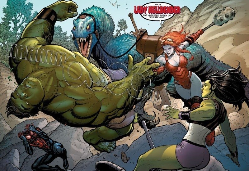 Hulk gets knocked out by Lady Hellbender
