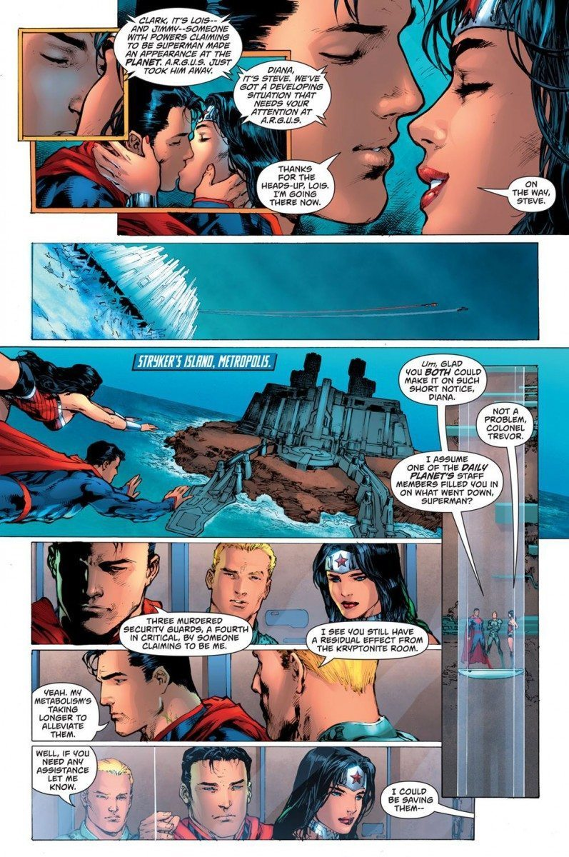 Superman/WonderWoman: Superman and Wonder Woman meet up with Steve Trevor at Stryker's Island