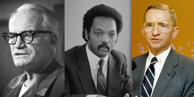 Barry Goldwater (left), Jesse Jackson (Centre), and Ross Perot (Right)