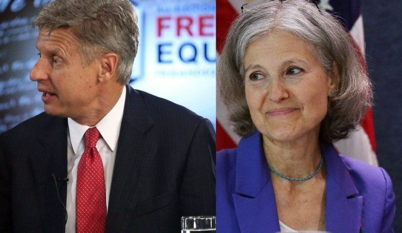 Gary Johnson of the Libertarian Party (left) and Jill Stein of the Green Party (right)