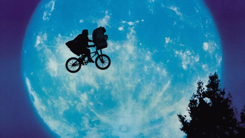 "The iconic flying bike scene from ""E.T."""