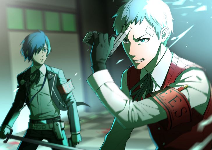 Akihiko in the Persona 3 movie about to shoot himself to summon his Persona.