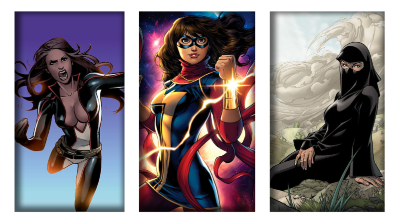 Marvel Muslim Superheroes Kamala Khan, Monet St. Croix, and Sooraya Qadir Dust