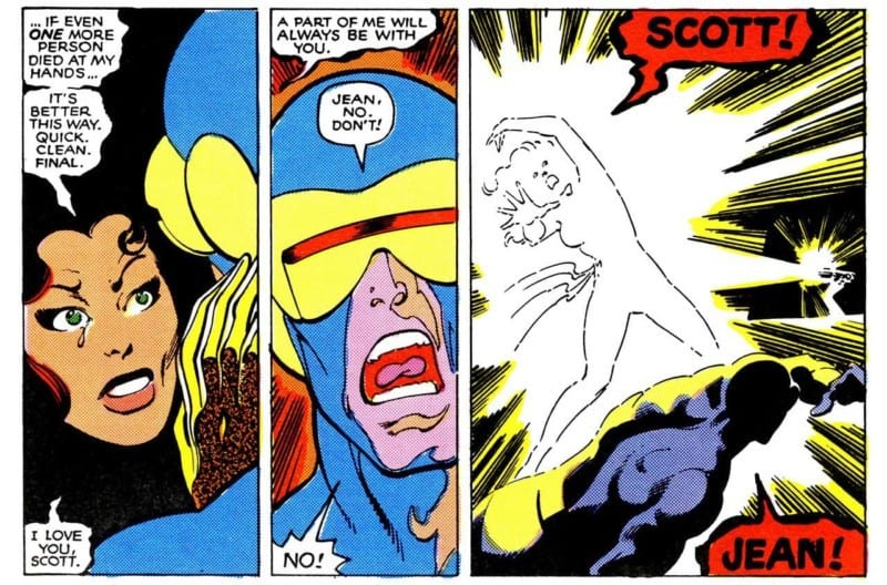 Jean Grey, as Dark Phoenix, kills herself at the end of