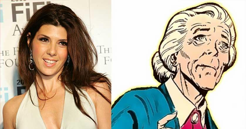 Side by side comparison of Marisa Tomei and comic book depiction of Aunt May
