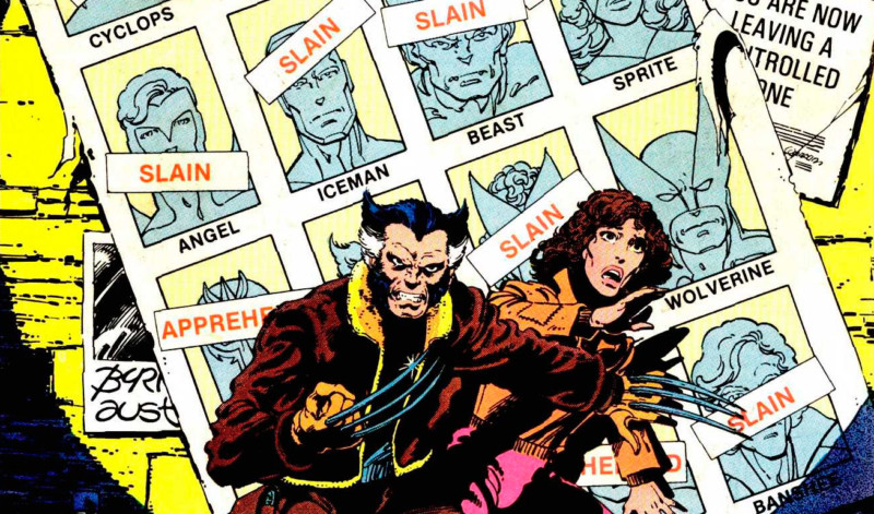 "Wolverine and Kitty Pryde on the cover of UNCANNY X-MEN during the ""Days of Future Past"" story arc."