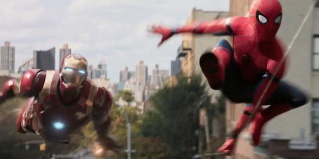 Screenshot of SPIDER-MAN: HOMECOMING trailer featuring Iron Man
