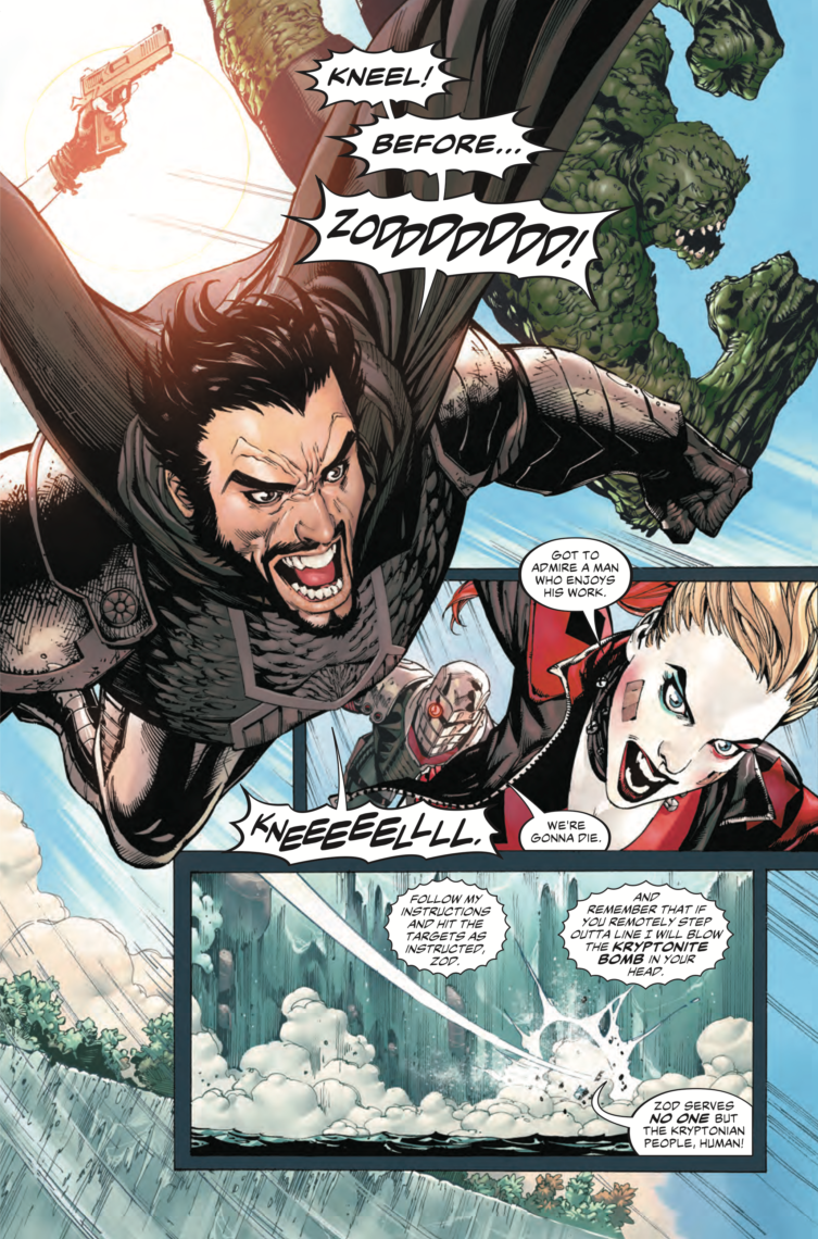 A page of SUICIDE SQUAD #17 where the team jumps gracefully into action.