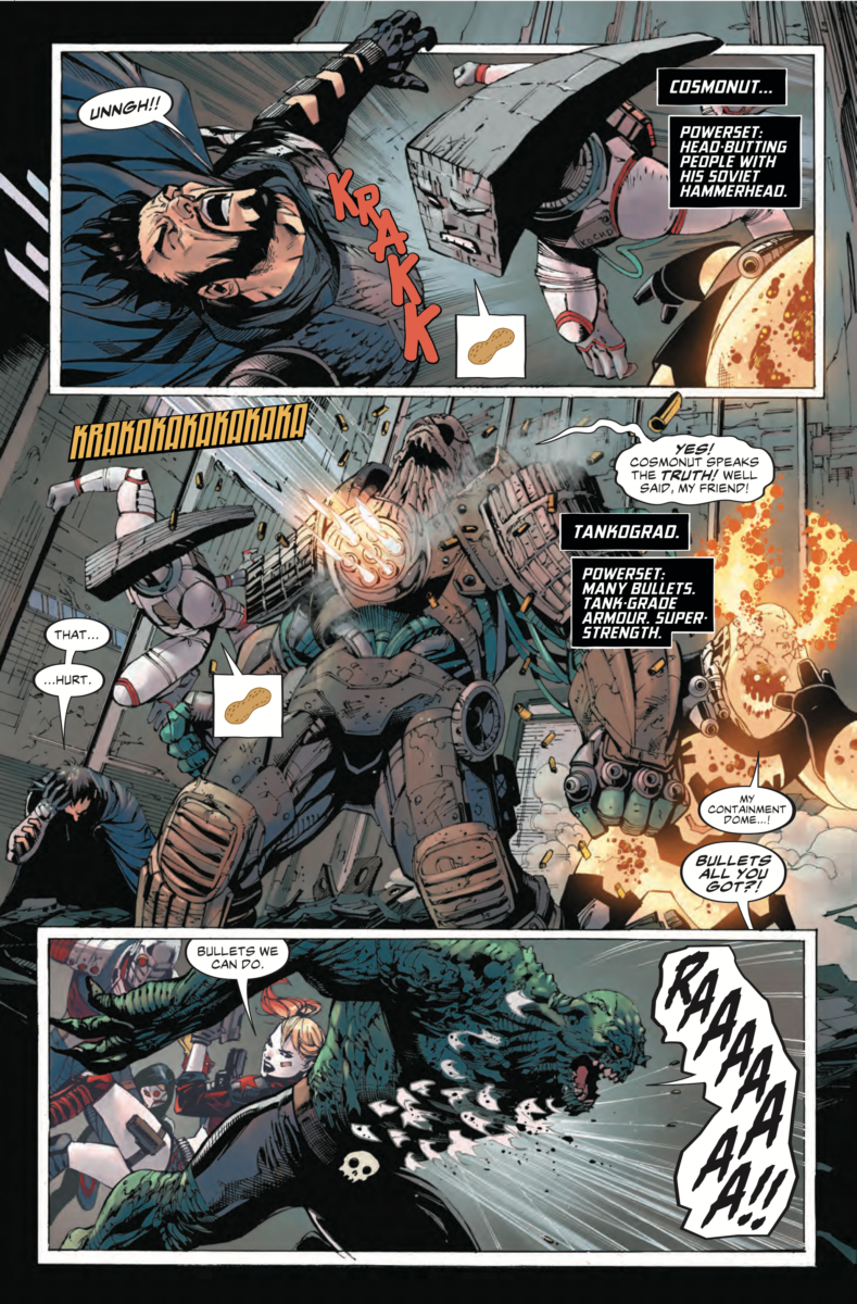 A page from SUICIDE SQUAD #17 showing Cosmonut attacking Zod and Tankgrad stepping up to plate.