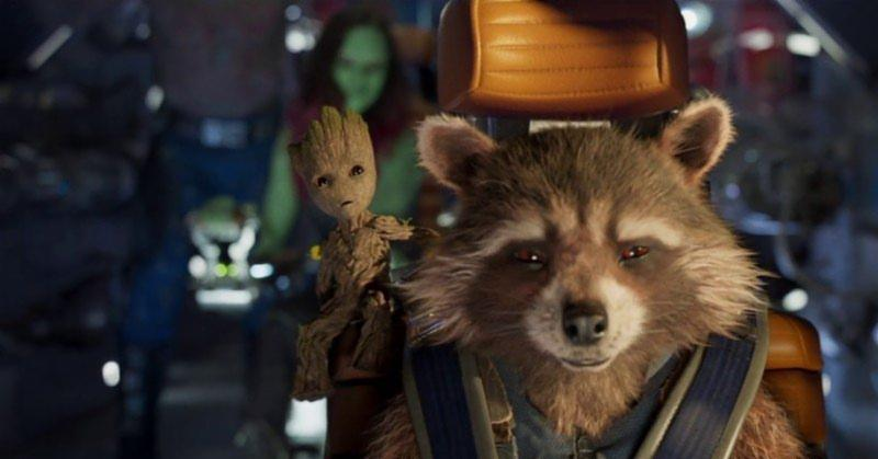 Rocket and Baby Groot piloting the ship