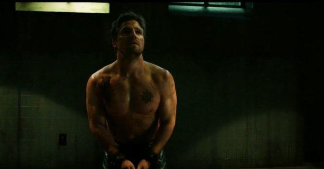 Oliver being tortured by Prometheus ARROW Season 5