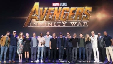 The cast of the AVENGERS: INFINITY WAR at the D23 trailer
