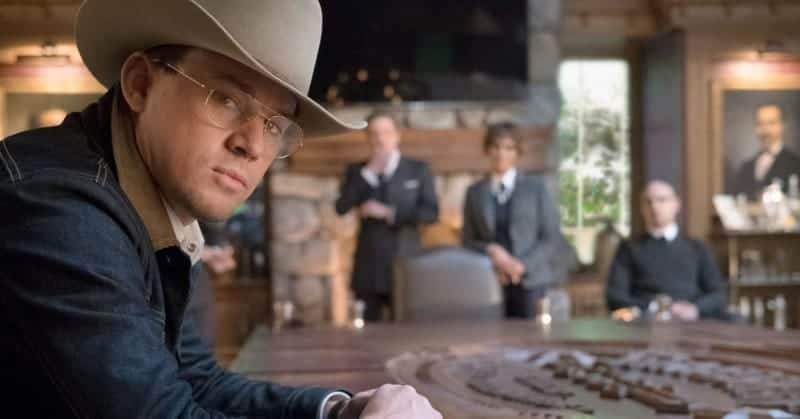 Channing Tatum as Tequila and Champagne (Jeff Bridges), Ginger Ale (Halle Berry), Whiskey (Pedro Pascal) in the background. KINGSMAN: THE GOLDEN CIRCLE