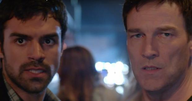 Eclipse (Sean Teale) and Reed Strucker (Stephen Moyer) escaping the government. THE GIFTED