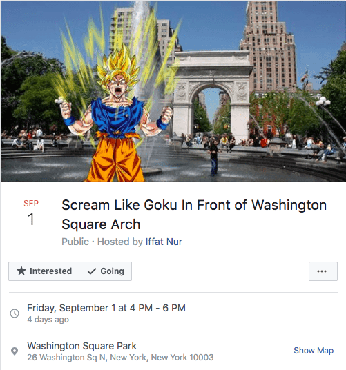 DBZ Facebook scream event