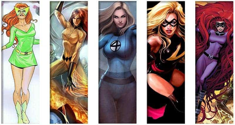 Images of Jean Grey, Medusa, Carol Danvers, Crystal, and the Invisible Girl from 1960's Marvel Comics.