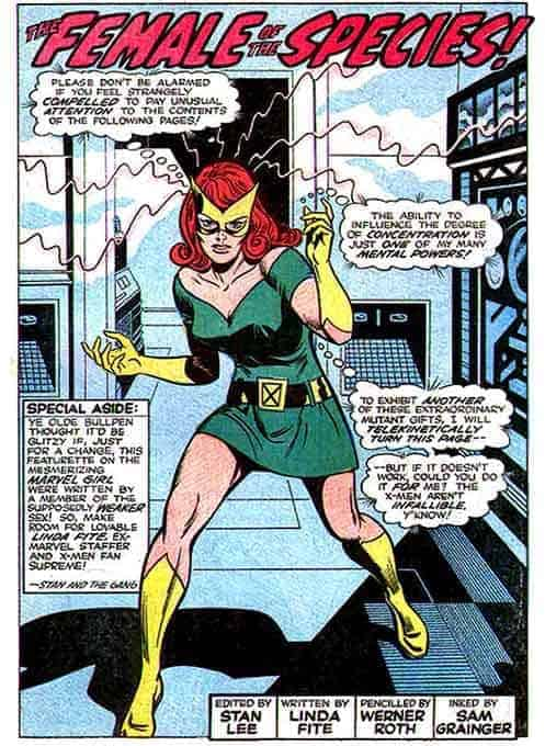 Jean Grey as Marvel Girl in UNCANNY X-MEN #52 in the 1960's.