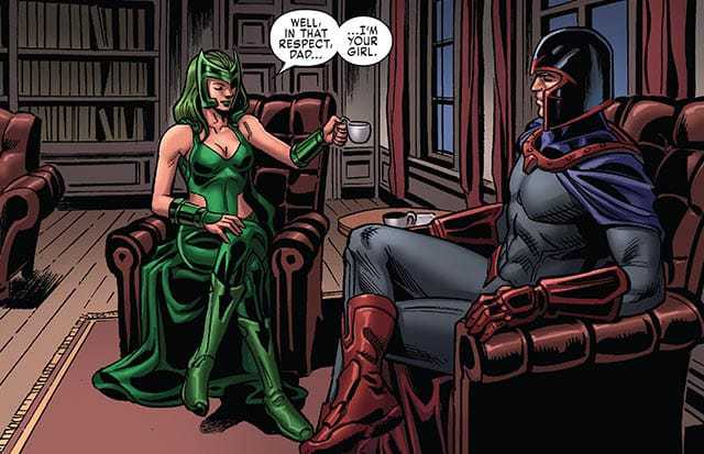 in X-MEN BLUE #10, Polaris talks with Magneto.