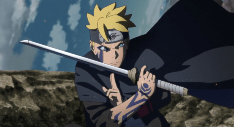 An adult Boruto prepares for battle