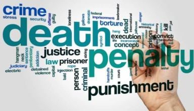 Death penalty word cloud concept on grey background.