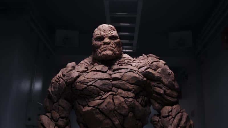 Stan Lee: The Thing stands in a hallway.