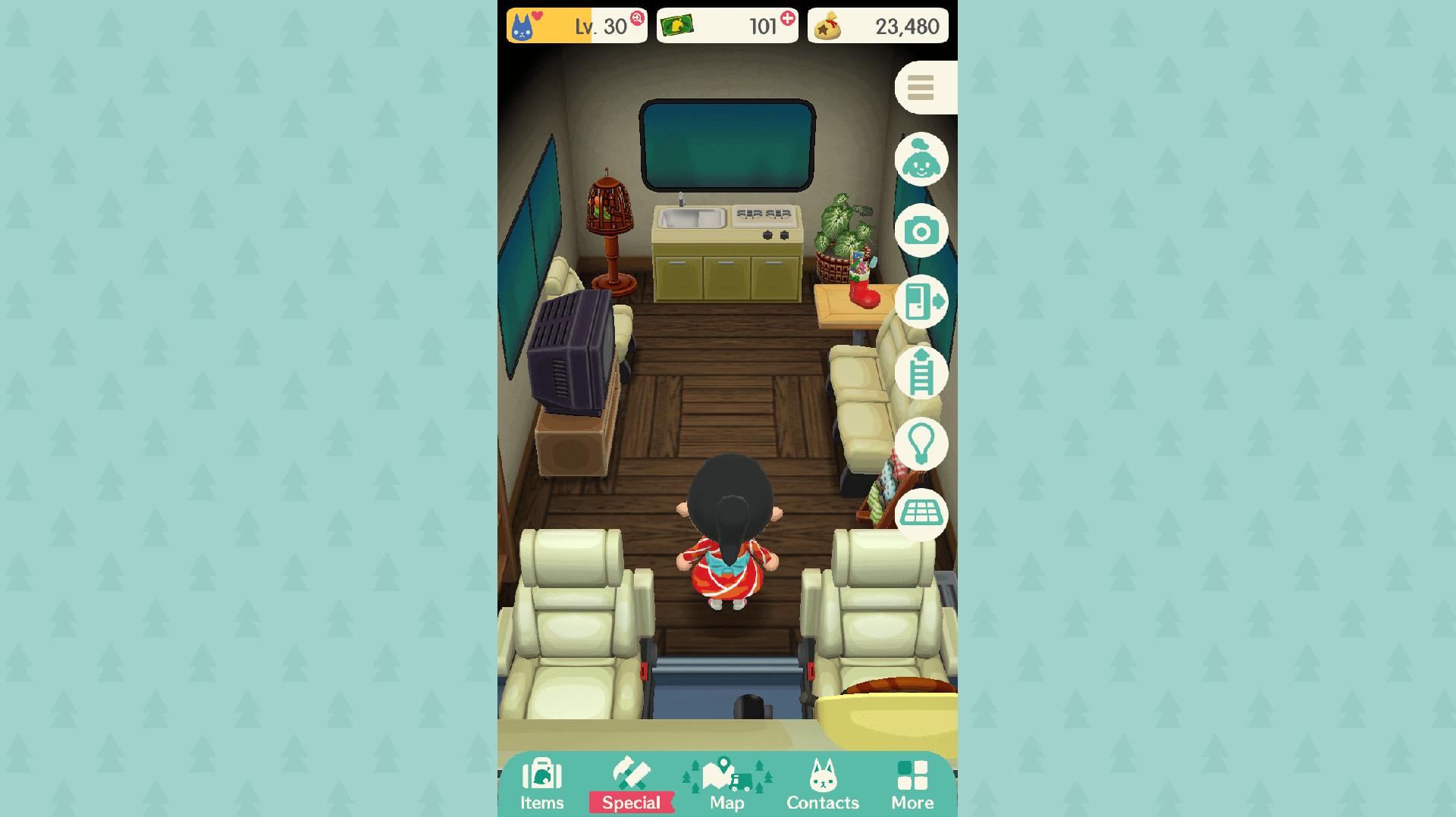 Animal Crossing: Pocket Camp inside the camper trailer