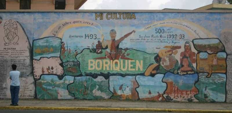 Wall mural about Puerto Rican history.