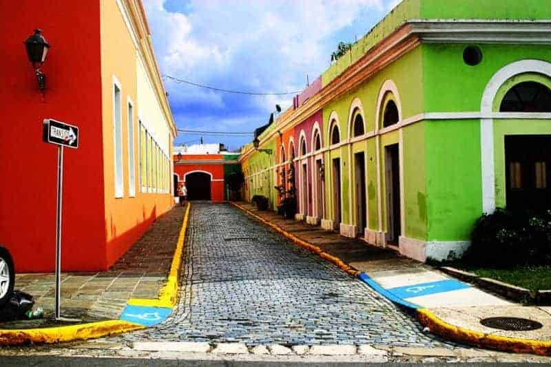 A typical Puerto Rican street in Old San Juan.