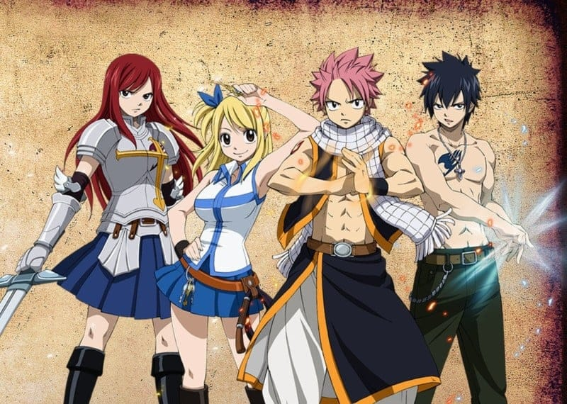 Fairy Tail members Ezra Scarlett, Lucy Heartphilia, Natsu Dragneel, and Grey Fullbuster, all guilty of the