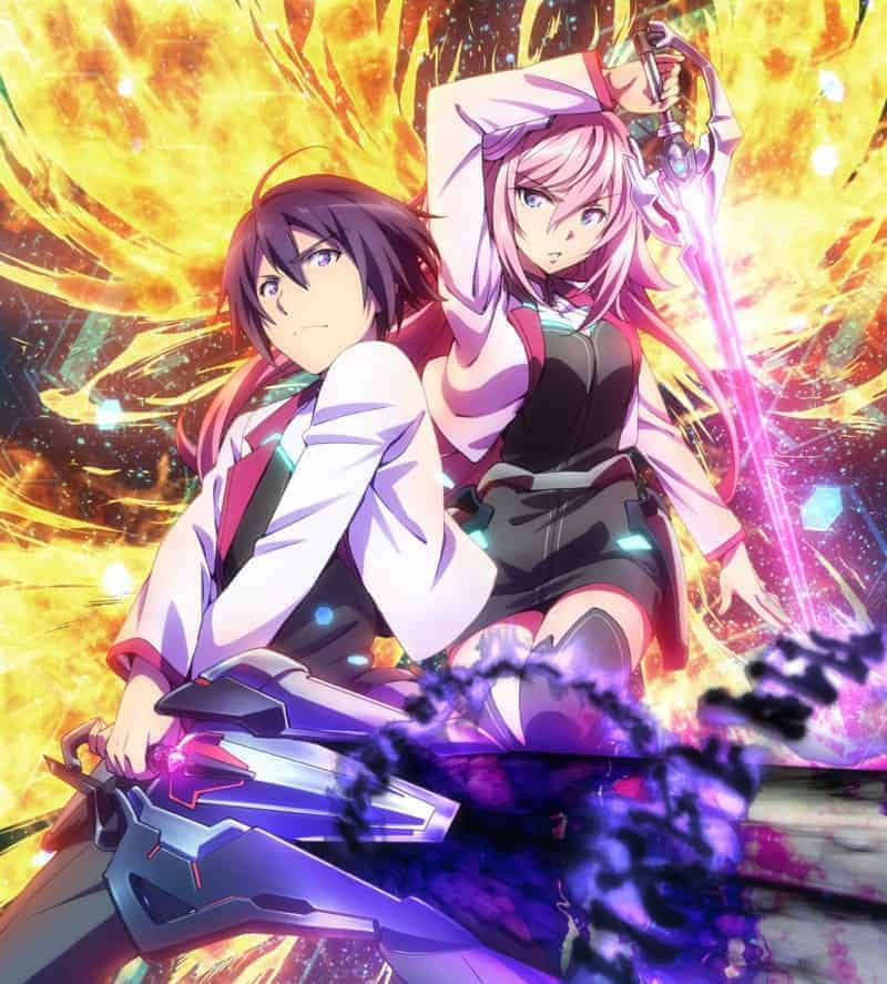 ASTERISK WAR protagonists Ayato Amagiri and Julis-Alexia von Riessfeld stand side by side wiedling glowing weapons.