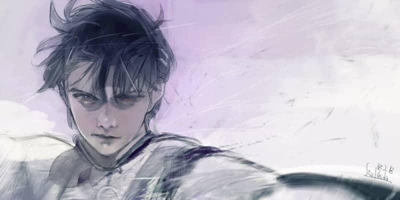 A wispy drawing of Hanyu posing dramatically