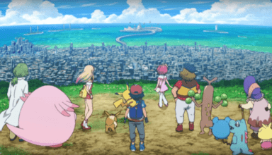 Screenshot of Everyone's story: Ash, Pikachu and our five new protagonists watch stand over looking the city