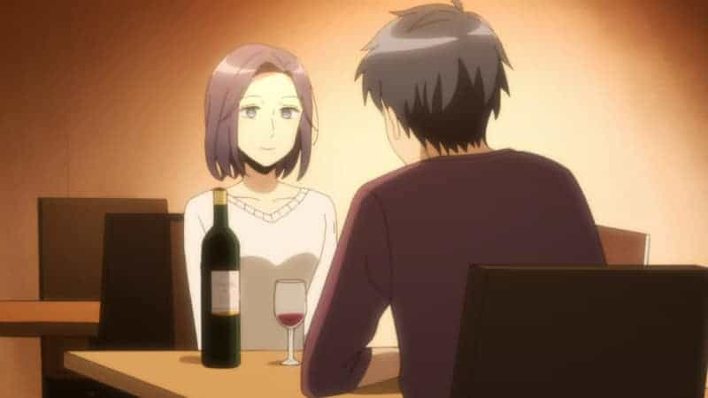 Moriko and Homare enjoy some wine on their dinner date.