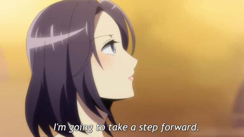 In this screencap of the final episode, Moriko looks forward with determination. The subtitle reads,