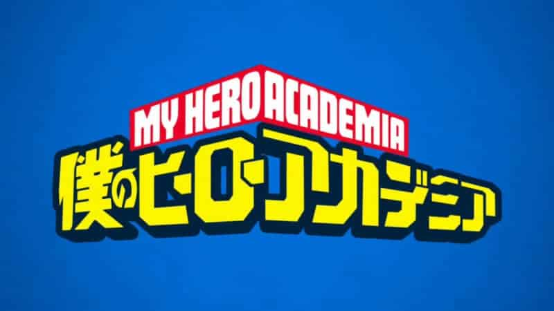 MY HERO ACADEMIA text over a blue background. MY HERO ACADEMIA won 7 times at the Crunchyroll Anime Awards