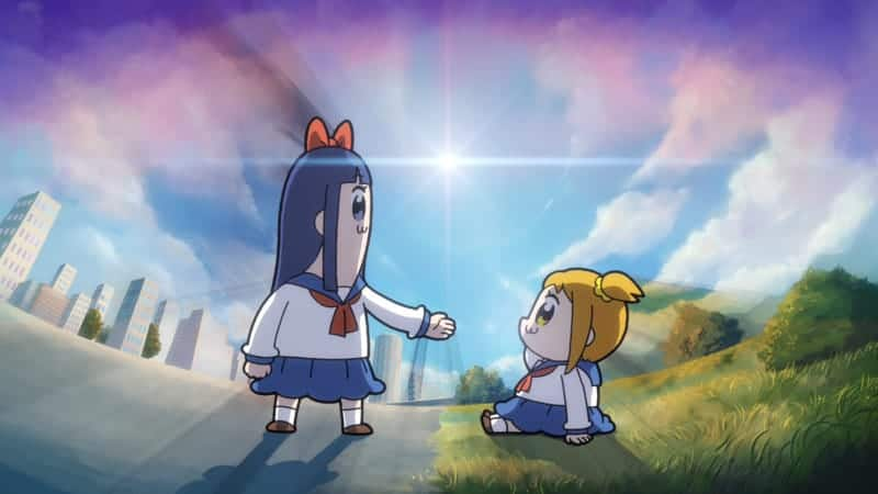 POP TEAM EPIC characters in the city and grass, separated by a light.
