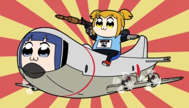 A girl with a rocket launcher sits on an airplane with a girl's face