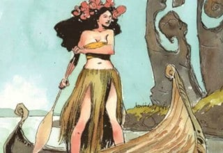 STORYTELLER: FAIRIES #3: a woman in a grass skirt with flowers in her hair rows a boat.