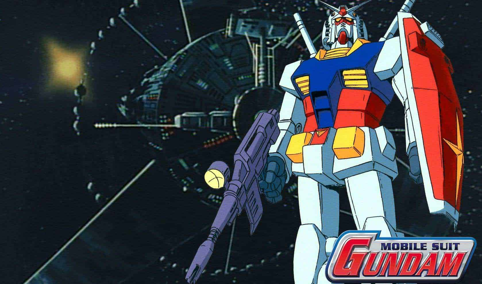 The Original Mobile Suit Gundam with a Colony in the background