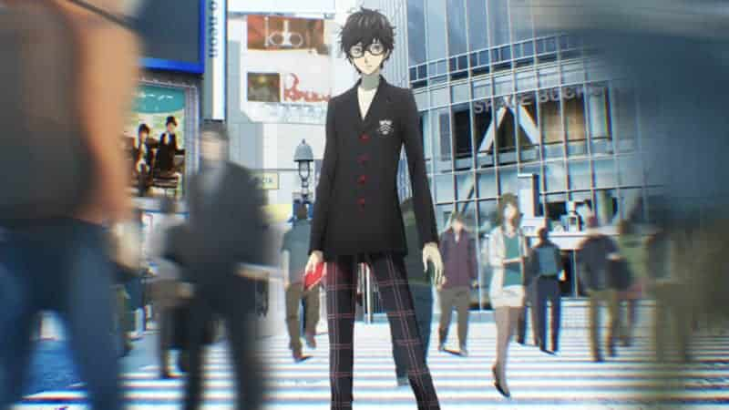This visual for the PERSONA 5 anime features the protagonist as he stands in a crowded crosswalk.