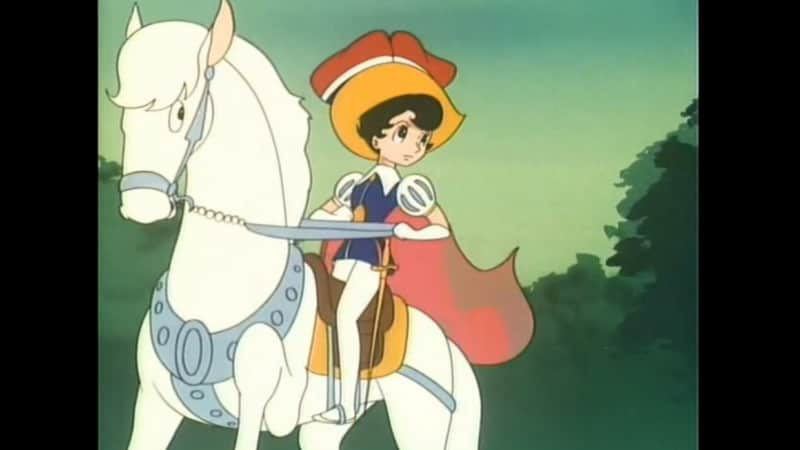 Princess Sapphire is seated on a white horse