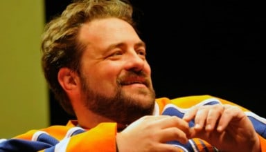 Kevin Smith works his jaw, part of his second career in entertainment