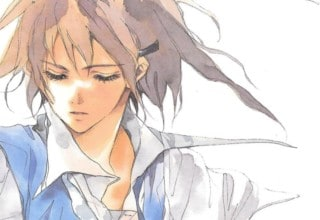 The cover of the English translation of VOICES OF A DISTANT STAR. It features a watercolor drawing of Mikako looking down to the side.