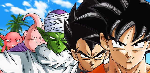 Goku, Vegeta, Piccolo, Majin Buu, and Monika in DRAGON BALL SUPER