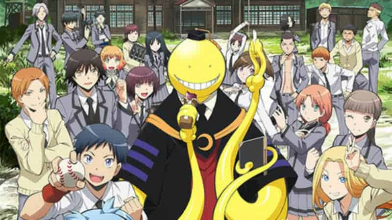 Korosensei stands in front of the class 3-E building with all of his students.